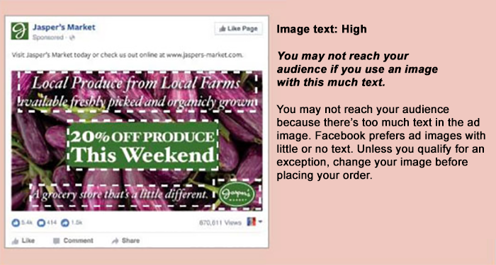 facebook example of large amount of text