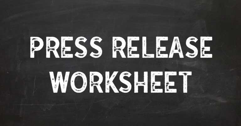 Press Release Worksheet and writing tips by Cre8ive