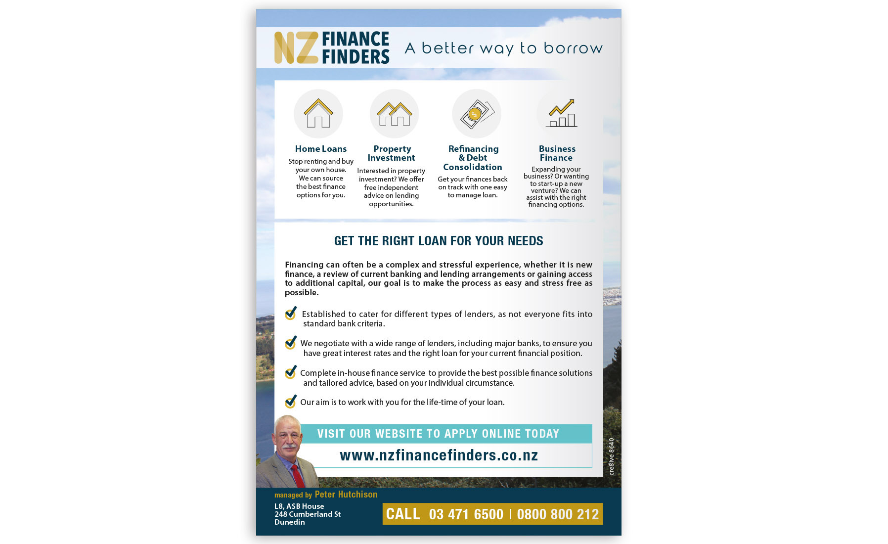 NZ Finance Finders Advert Property Press Magazine Cre8ive Dunedin