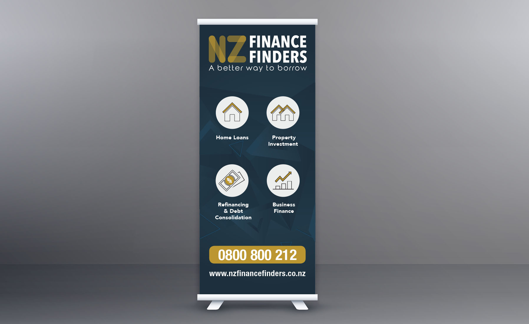 NZ Finance Finders Pull up banner design Cre8ive Dunedin Signage