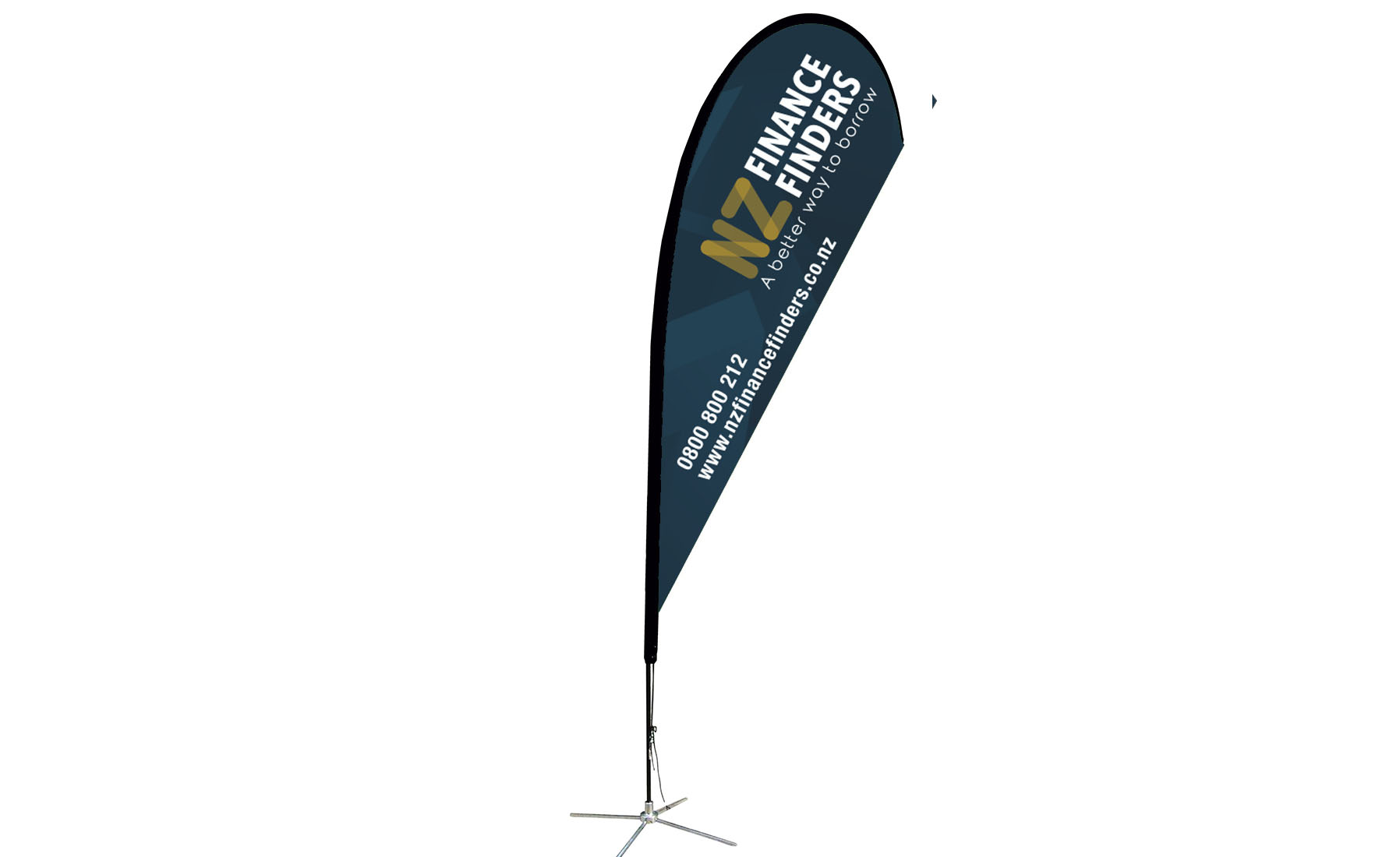 NZ Finance Finders Teardrop flag design Cre8ive Dunedin