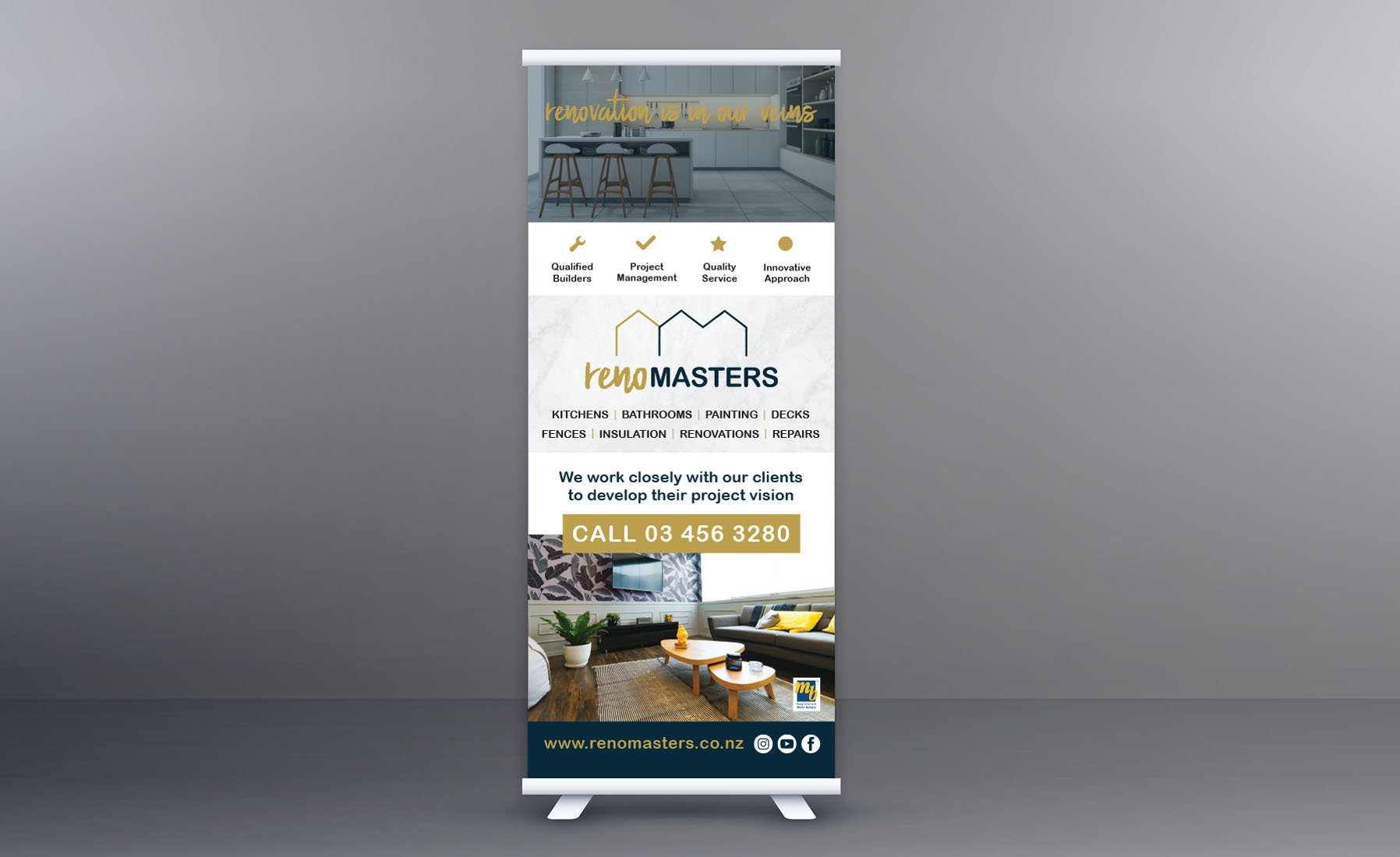 RenoMasters Pull up banner design Cre8ive Dunedin Signage