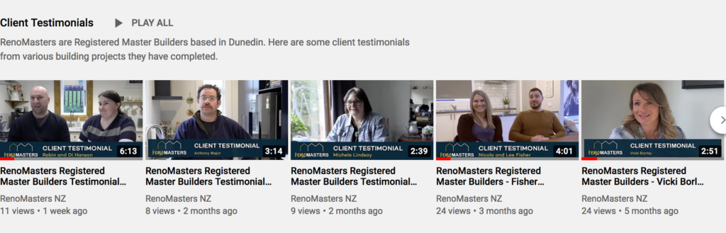 RenoMasters Registered Master Builders Testimonial videos YouTube playlist - Client of Cre8ive Marketing in Dunedin.