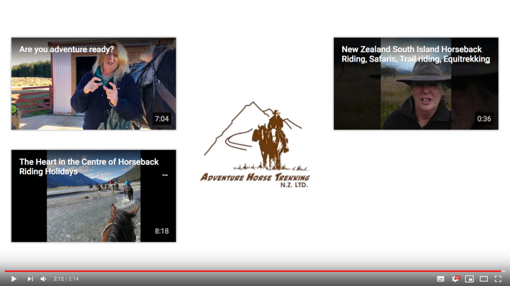 YouTube End screen example from Adventure Horse Trekking NZ - Client of Cre8ive Marketing in Dunedin.