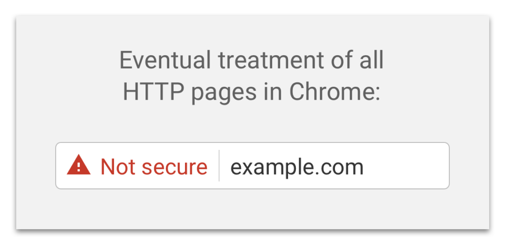 HTTP no longer secure. Warning message will appear in Chrome.